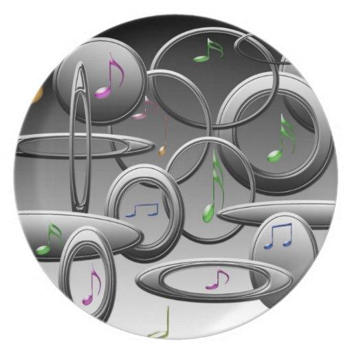 Placa con las notas musicales plato de cena