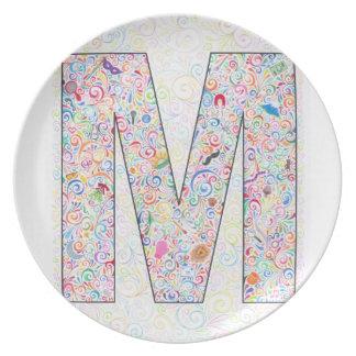"""Placa con monograma de """"M"""" Platos De Comidas"""