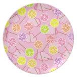 Placa con sabor a fruta rosada del lollipop plato para fiesta