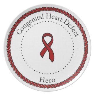Placa congénita del héroe del defecto del corazón plato de cena