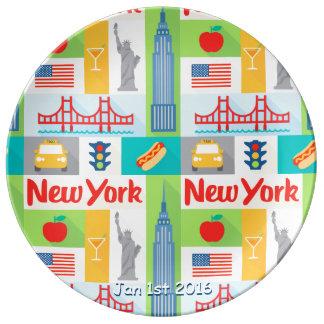placa conmemorativa de la porcelana de la fecha de platos de cerámica