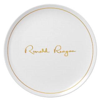 Placa conmemorativa de oro de Ronald Reagan Plato De Cena
