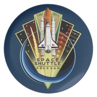 Placa conmemorativa del programa del transbordador plato para fiesta