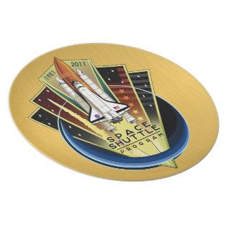 Placa conmemorativa del programa del transbordador platos