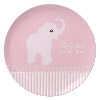 Placa conocida personalizada linda del elefante de platos para fiestas