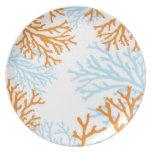 Placa coralina anaranjada y azul platos para fiestas