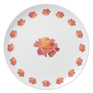 Placa coralina del ornamento del rosa color de ros plato de comida