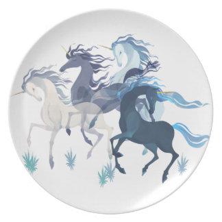 Placa corriente de la melamina de los unicornios plato para fiesta