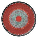 Placa - crisantemo rojo de la turquesa de la manda platos de comidas