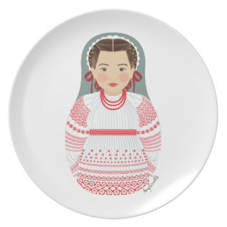 Placa croata de Matryoshka del chica Plato De Comida