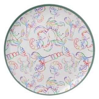 Placa crustácea de la melamina del arco iris platos