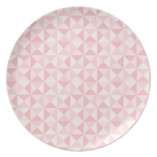 "Placa ""cuadrados rosados "" plato de comida"