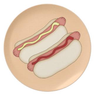 Placa de 2 perritos calientes platos