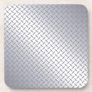 Placa de acero brillante del diamante posavaso