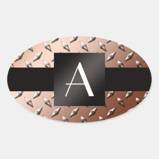 Placa de acero del diamante marrón del monograma calcomania óval