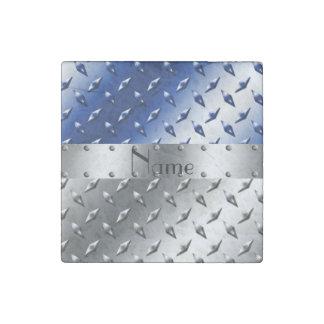 Placa de acero personalizada del diamante azul de imán de piedra