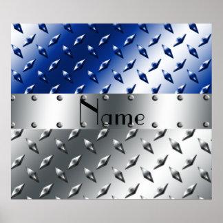 Placa de acero personalizada del diamante azul de póster