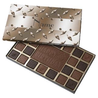 Placa de acero personalizada del diamante marrón caja de bombones variados con 45 piezas