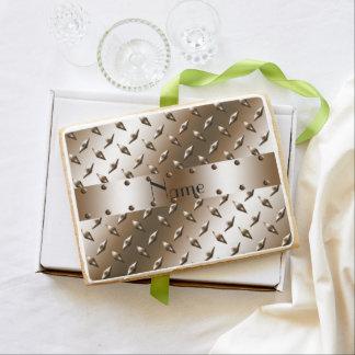 Placa de acero personalizada del diamante marrón