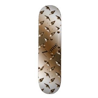 Placa de acero personalizada del diamante marrón patineta personalizada