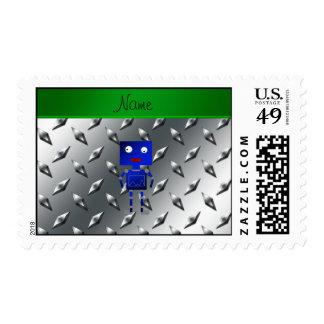 Placa de acero personalizada del robot azul estampilla