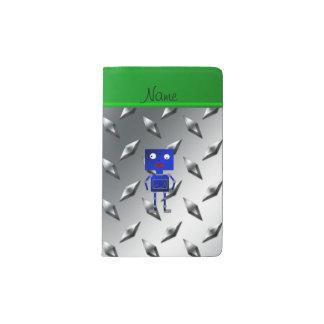 Placa de acero personalizada del robot azul funda para libreta y libreta pequeña moleskine