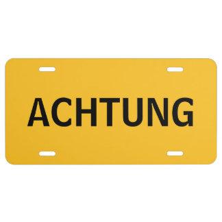 Placa de ACHTUNG Placa De Matrícula
