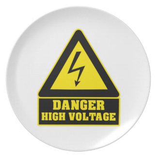 Placa de alto voltaje del fiesta del peligro plato de cena