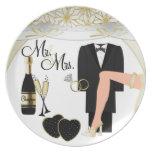 Placa de /Anniversary 2 del boda Platos De Comidas