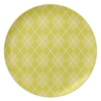 Placa de Argyle del verde amarillo Plato De Cena