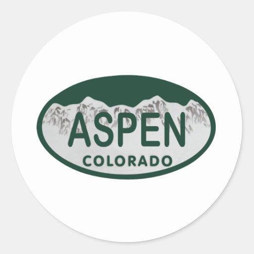 Placa de Aspen Colorado Pegatina Redonda