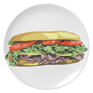 Placa de bocadillo platos de comidas