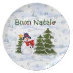Placa de Buon Natale del muñeco de nieve del invie Platos