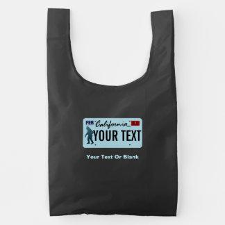 Placa de California Sasquatch Bolsa Reutilizable
