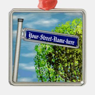 Placa de calle alemana del vintage adaptable - adorno navideño cuadrado de metal