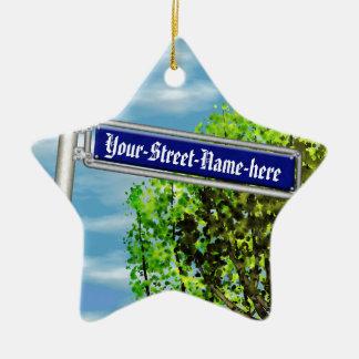 Placa de calle alemana del vintage adaptable - adorno navideño de cerámica en forma de estrella