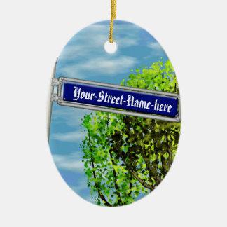 Placa de calle alemana del vintage adaptable - adorno navideño ovalado de cerámica