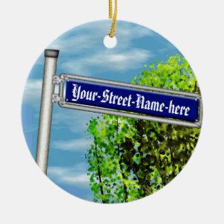 Placa de calle alemana del vintage adaptable - adorno navideño redondo de cerámica