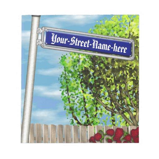 Placa de calle alemana del vintage adaptable - blocs de papel