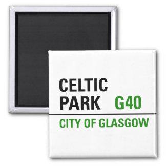 Placa de calle céltica del parque imán cuadrado