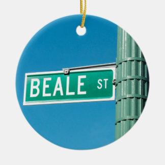 Placa de calle de Beale Adorno Navideño Redondo De Cerámica