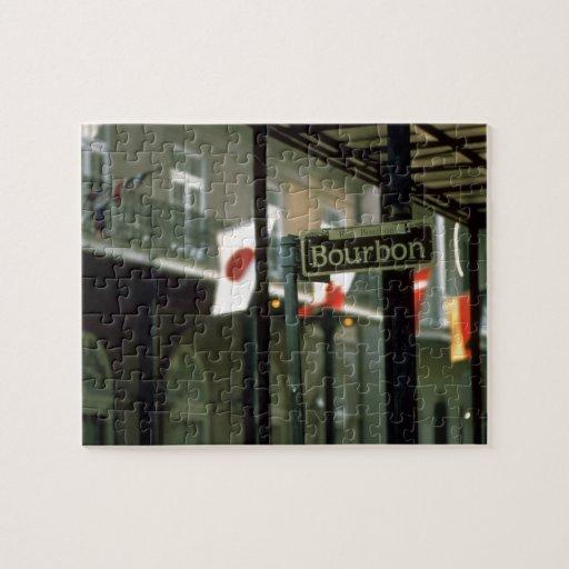 Placa de calle de Borbón en New Orleans Rompecabezas