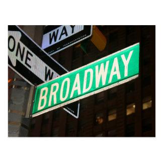 Placa de calle de Broadway Postales