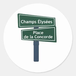 Placa de calle de Elysees la plaza de la Concordia Pegatina Redonda