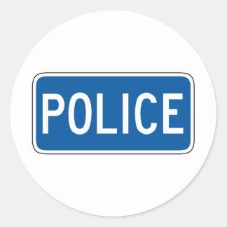 Placa de calle de la policía etiquetas redondas