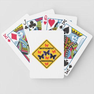 Placa de calle de la travesía de la mariposa cartas de juego