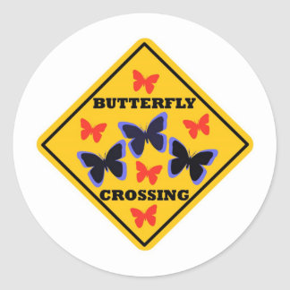 Placa de calle de la travesía de la mariposa pegatina redonda
