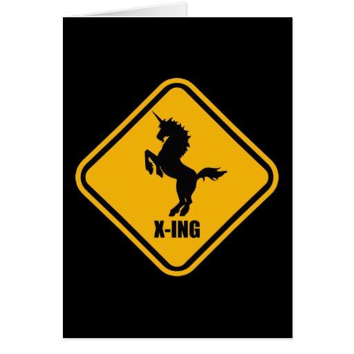 Placa de calle de la travesía del unicornio tarjeton