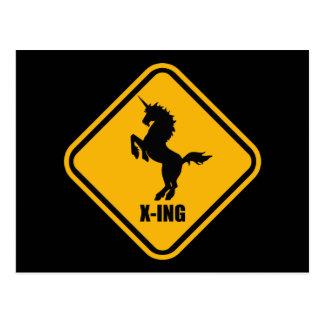 Placa de calle de la travesía del unicornio tarjeta postal