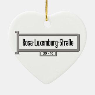 Placa de calle de Rosa-Luxemburgo-Strasse, Berlín Adorno De Cerámica En Forma De Corazón
